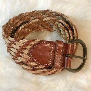 Eddie Bauer Leather Rattan Braided Belt S/M